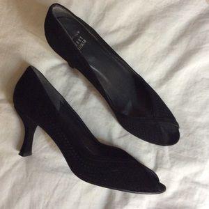 77978aad0781 Stuart Weitzman Shoes - Stuart Weitzman Perforated Suede Open Toe Pumps